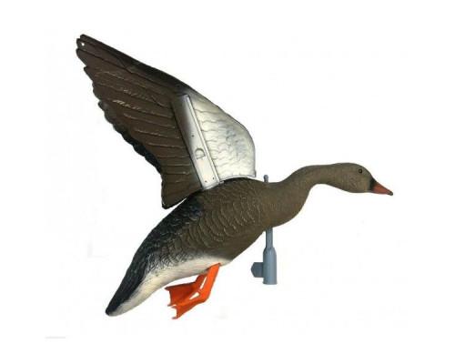 Чучело гуся гуменник летящий, крепеж на палку, подвижные крылья для веревки, пластик, не складной, матовый, 800гр.