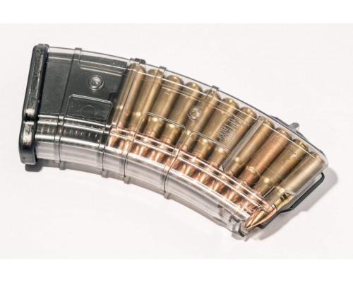 Магазин Pufgun На Впо-133/Сайга-Мк/М (Без Сухаря), 7,62Х39, 20 Патронов, Полимер, Возм. Укорочения, Прозрачный, 130Гр.