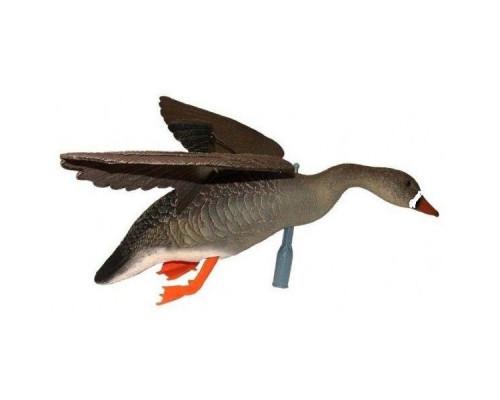 Чучело гуся белолобый летящий, крепеж на палку, подвижн.крылья для веревки, пластик, не складной, матовый, 800гр.