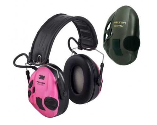 Активные наушники Peltor Sport-Tac, сменные боковые панели, (розовые и оливковые) 37087.004